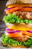 Closeup of double-decker homemade hamburger Stock Photo
