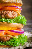 Closeup of double-decker homemade hamburger Royalty Free Stock Photos