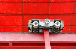 Closeup of the double detachable grip of cable car. Cable car grip and hanger with Side Roller, Hinge Block, Tension Spring, Roller and Draw Bar Royalty Free Stock Images