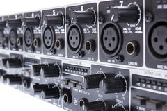 Closeup of double ULTRAZONE 8 Channel 3 Bus Mic Line Zone Mixer Stock Image