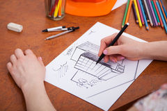 Closeup of drawing building at the desk Stock Photography