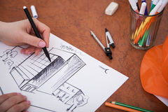 Closeup of drawing building at the desk Stock Photo