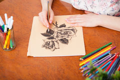 Closeup of drawing at the desk Stock Image