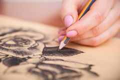 Closeup of drawing at the desk Stock Photography