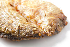 Closeup Dried fish fried on white. Royalty Free Stock Photos