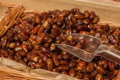 Closeup of dried fruit, dates in the store. royalty free stock photos