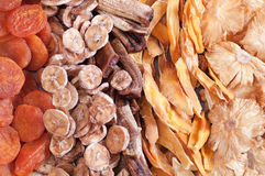 Closeup of dried fruits Royalty Free Stock Photos
