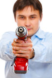 Closeup on drill pointing in camera as a gun Stock Photography