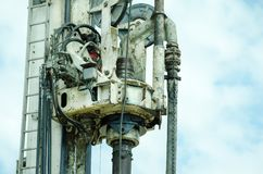 Closeup of drilling machinery hydraulic system. Closeup of drilling machinery hydraulic system Stock Photo