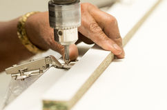 Closeup drilling on wood Royalty Free Stock Photos