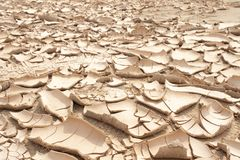 Closeup of dry cracked earth background, clay desert Stock Images