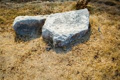 Dry grass Stone, the grass. Closeup of dry grass as background Stock Images