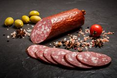 Free Closeup Dry Smoked Salami Sausage With Green Olives And Tomato Royalty Free Stock Photos - 148304668