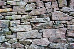 Closeup on a dry stone wall Royalty Free Stock Photos