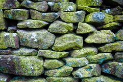 Closeup on a dry stone wall Stock Photos