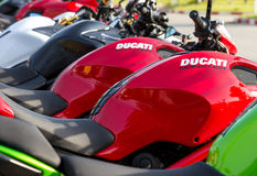 Closeup of Ducati Monster Royalty Free Stock Photos