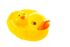 Closeup duck toy on white background. Stock Photos