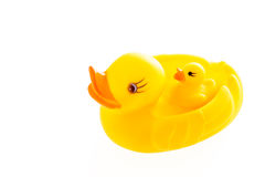 Closeup duck toy on white background. Royalty Free Stock Images