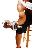 Closeup of dumbbell lifting. Royalty Free Stock Photos