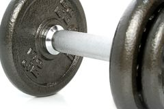 Closeup dumbbell on white Stock Image