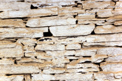 Closeup of Dusty Bagged Vintage Stone Wall Stock Images