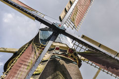 Closeup of a Dutch windmill, center connecting four wings Stock Photography