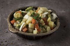 Menestra, spanish cooked mixed vegetables stock images