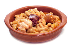 Fabada asturiana, typical spanish bean stew Royalty Free Stock Photos