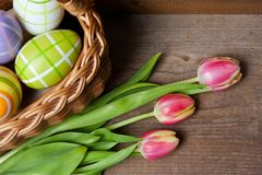 Closeup of easter basket stock photos