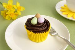 Closeup of Easter Cupcake Decorated with Easter Eggs Stock Image