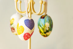 Closeup of Easter decoration - eggs made with decoupage. Napkins Royalty Free Stock Photos