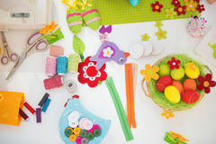 Closeup on easter decoration on table Royalty Free Stock Photos
