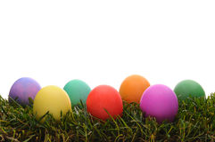 Closeup Easter Dyed Eggs in Grass Royalty Free Stock Photography