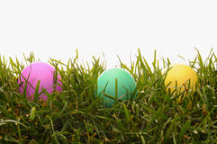 Closeup Easter Dyed Eggs in Grass Royalty Free Stock Photo