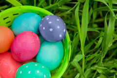 Closeup on Easter eggs in a pail Royalty Free Stock Images