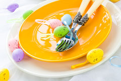 Closeup Easter place setting eggs Royalty Free Stock Image