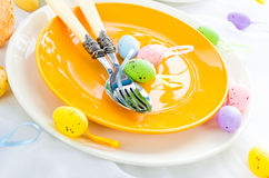 Closeup Easter place setting eggs Stock Images