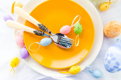 Closeup Easter place setting eggs Royalty Free Stock Photos