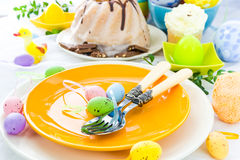 Closeup Easter place setting eggs Stock Image