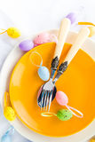 Closeup Easter place setting eggs Royalty Free Stock Photography