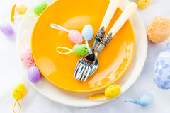 Closeup Easter place setting eggs Stock Photography