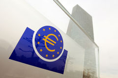Closeup of ECB sign Stock Images