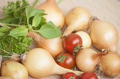 Closeup of ecologic autumn yield- whole onions, cherry tomatoes and fresh basil and parsley in sunlight Royalty Free Stock Images