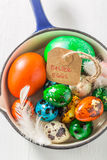 Closeup of ecological Easter eggs in pan Stock Image