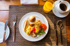 Closeup of egg omelette for breakfast . Royalty Free Stock Photography