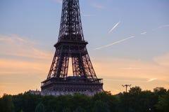 Closeup of Eiffel tower at sunrise Stock Photos