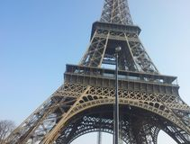 Closeup of the Eiffel Tower (Tour Eiffel) Royalty Free Stock Photos