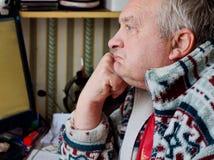 Portrait of sad elderly man royalty free stock image