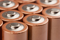 Closeup of electric batteries Royalty Free Stock Photography