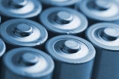 Closeup of electric batteries Stock Images